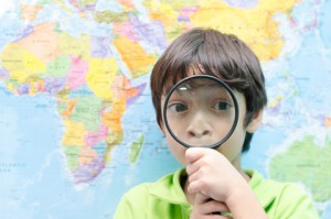 Young boy with lens map